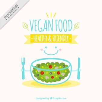 Fondo de comida vegana con una ensalada