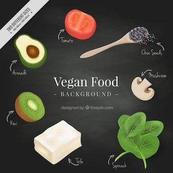 Fondo de comida vegana realista