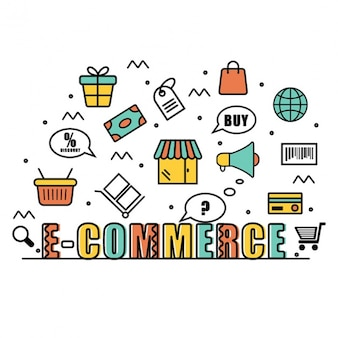 Fondo de compras en línea con artículos en diseño plano