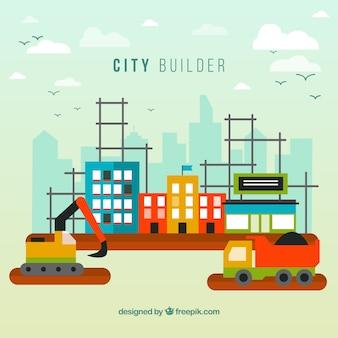 Fondo de construcción de ciudad colorida