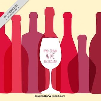 Fondo de copa y botellas de vino