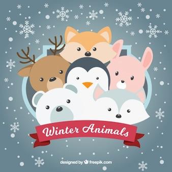 Fondo de copos de nieve con bonitos animales