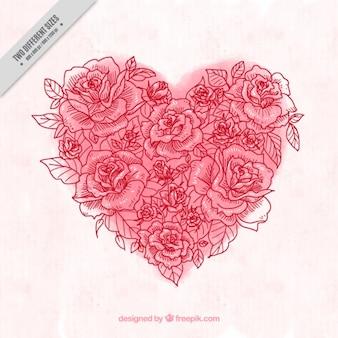 Fondo de corazón de acuarela hecho de bocetos de rosa