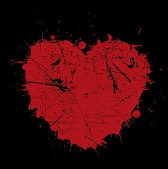 Fondo de corazón rojo desgastado