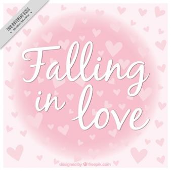 Fondo de corazones con frase amorosa