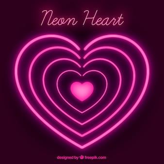 Fondo de corazones de neón