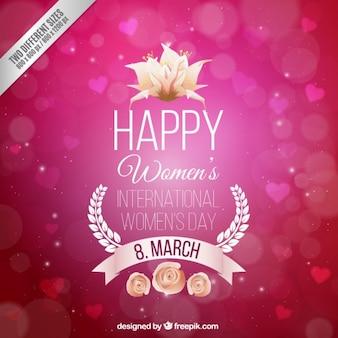 Fondo de corazones para el día de la mujer