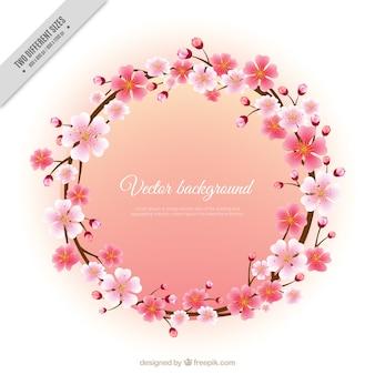 Fondo de corona de flores de cerezo