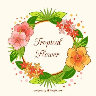 Fondo de corona floral tropical dibujada a mano