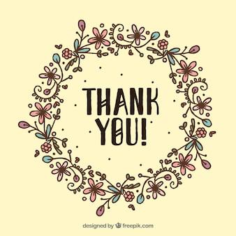 Fondo de corona floral vintage dibujada a mano con la palabra gracias