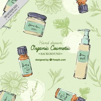 Fondo de cosméticos ecológicos dibujados a mano