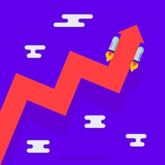 Fondo de crecimiento empresarial en diseño plano