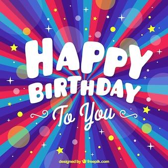 Fondo de cumpleaños colorido con efecto bokeh