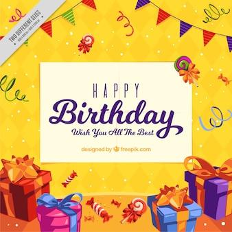 Fondo de cumpleaños colorido con regalos y guirnaldas