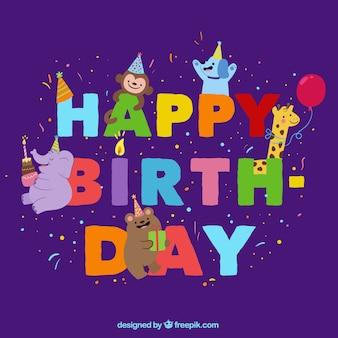 Fondo de cumpleaños con animales sonrientes