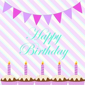 Fondo de cumpleaños con cupcakes