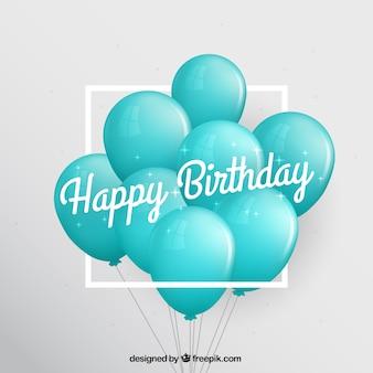 Fondo de cumpleaños con globos turquesa