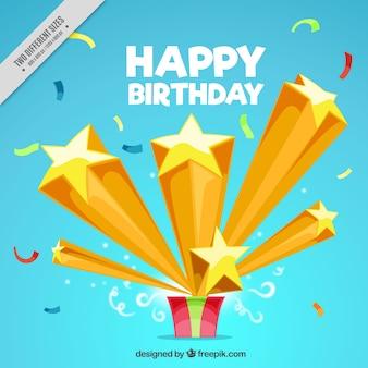 Fondo de cumpleaños con regalo y estrellas