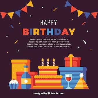 Fondo de cumpleaños con regalos y pastel en diseño plano