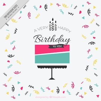 Fondo de cumpleaños con tarta abstracta y serpentina