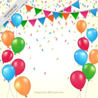 Fondo de cumpleaños de globos de colores y banderines