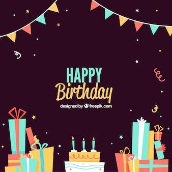 Fondo de cumpleaños oscuro con regalos y tarta
