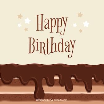 Fondo de cumpleaños sabroso con tarta de chocolate