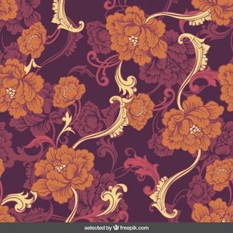 Fondo de de ornamentos florales en estilo retro