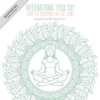Fondo de decoración de bocetos con una chica haciendo yoga