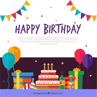 Fondo de decoración de cumpleaños en diseño plano