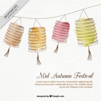 Fondo de decoración de farolillos dibujados a mano para el festival de otoño