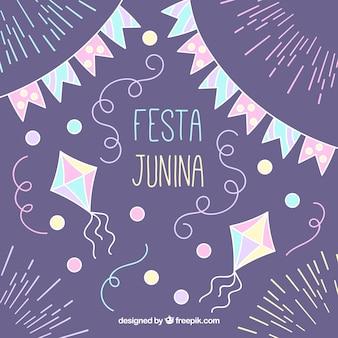 Fondo de decoración dibujada a mano de fiesta junina