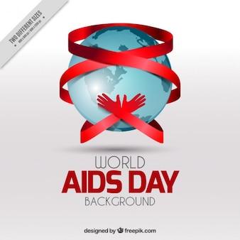 Fondo de del día mundial del sida con manos abrazando el mundo