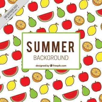 Fondo de deliciosas frutas de colores dibujadas a mano