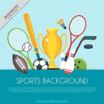 Fondo de deporte con trofeo y elementos de deporte