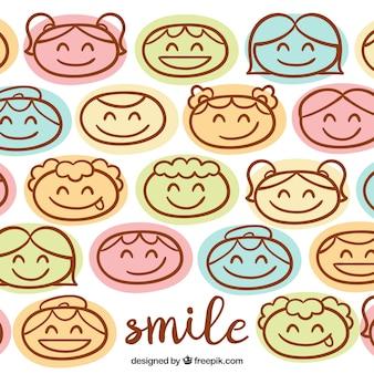 Fondo de dibujos de caras sonrientes