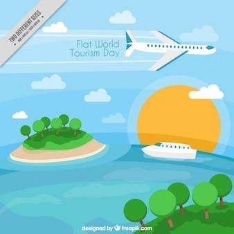 Fondo de diferentes medios de transporte para el día del turismo