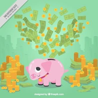 Fondo de dinero con hucha y montañas de monedas y billetes