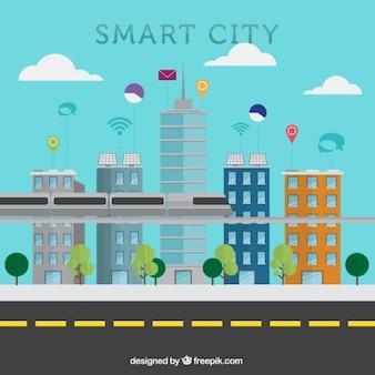 Fondo de diseño plano de ciudad inteligente