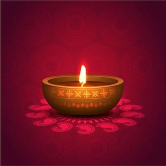 Fondo de diwali con vela encendida