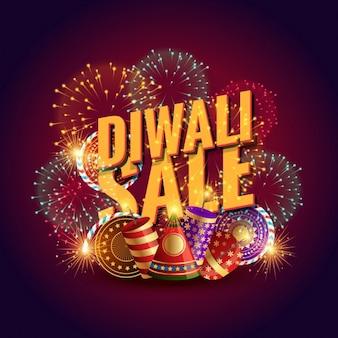 Fondo de diwali de rebajas con elementos y fuegos artificiales