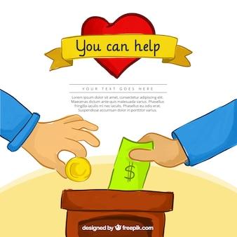 Fondo de donación dibujado a mano