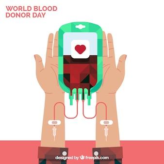 Fondo de donante de sangre en diseño plano