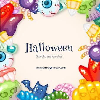 Fondo de dulces de halloween coloridos