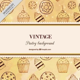 Fondo de dulces dibujados a mano en estilo vintage