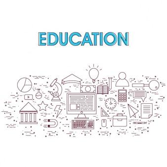 Fondo de educación con elementos planos