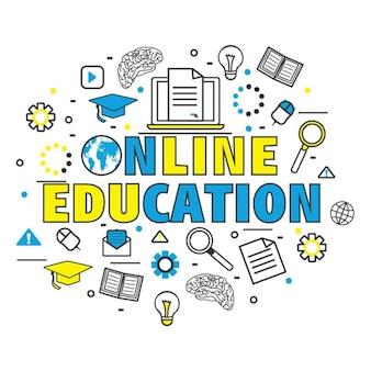 Fondo de educación en línea con detalles de color