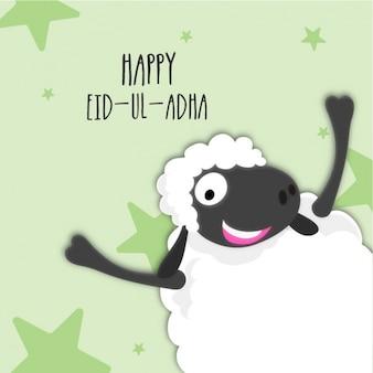 Fondo de eid al adha con cordero sonriente