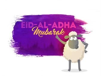 Fondo de Eid-Al-Adha Mubarak con las ovejas.