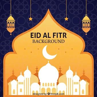 Fondo de eid al fitr con mezquita blanca